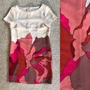 LOFT - Pink & cream floral abstract shift dress